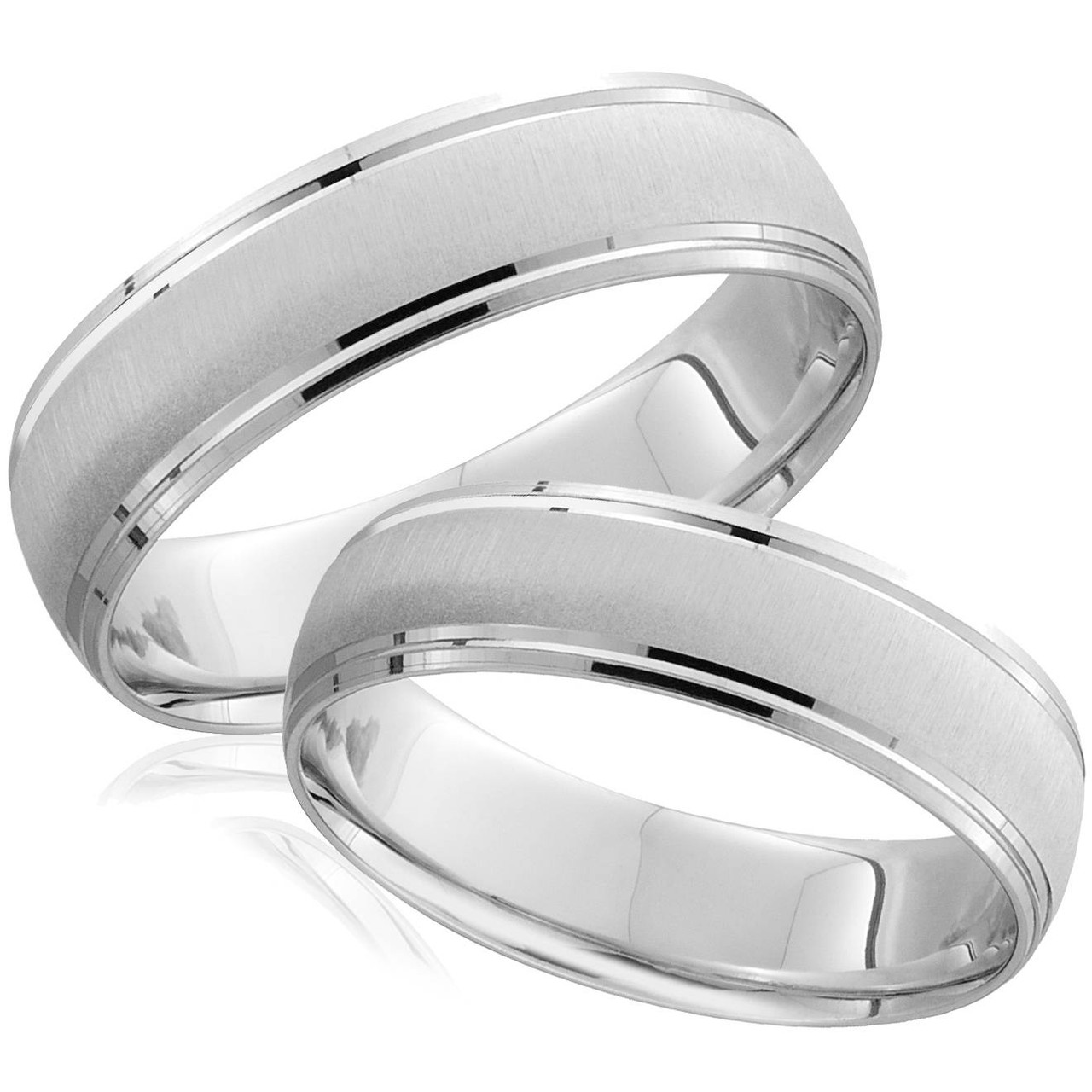 It is an image of White Gold Brushed Wedding Band Set Matching Mens Womens Rings 38k 38/38MM