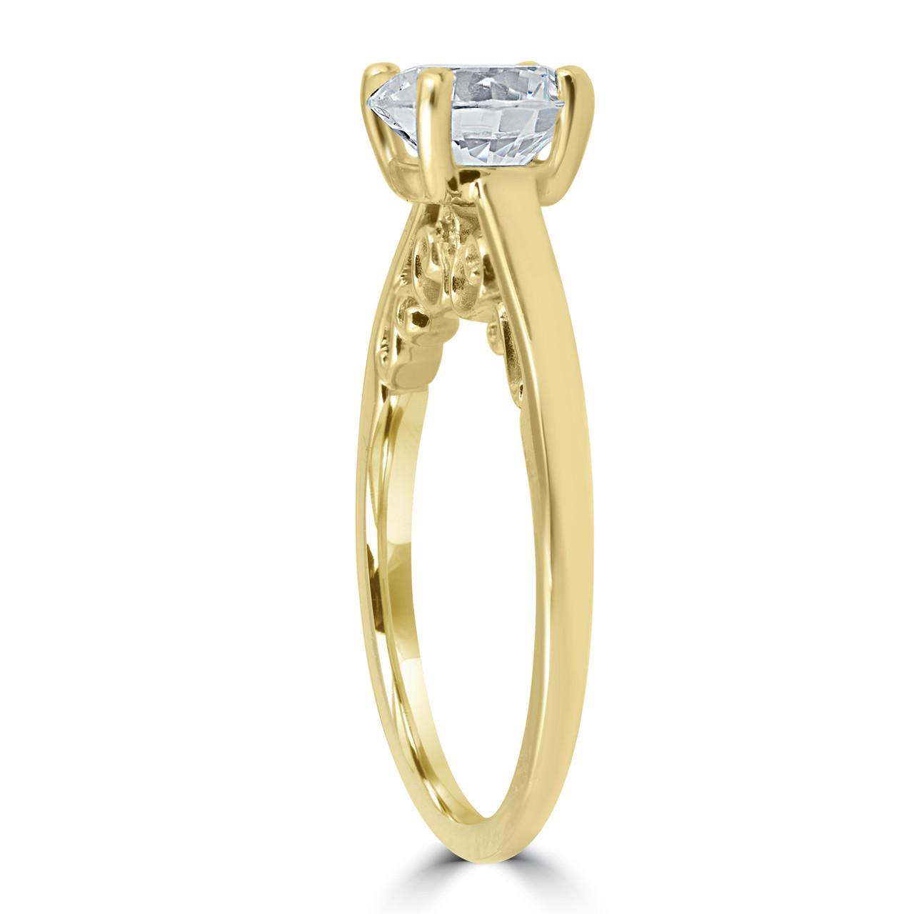 f21d2201e51 1 ct Diamond Round Brilliant Cut Solitaire Engagement Ring 14k ...