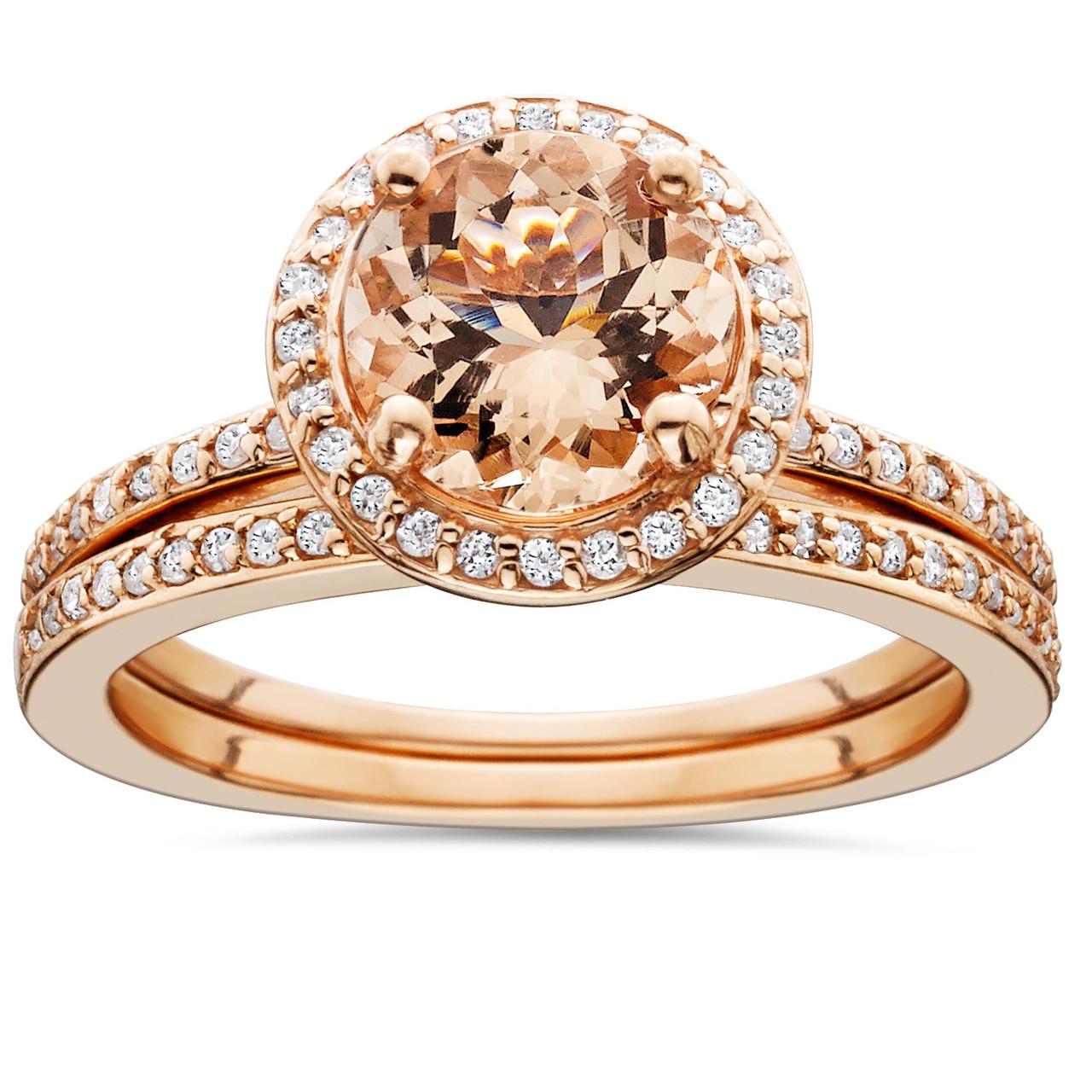 eea795f79a64d 1 3 4 Carat Morganite   Diamond Halo Engagement Wedding Ring Set 14K ...
