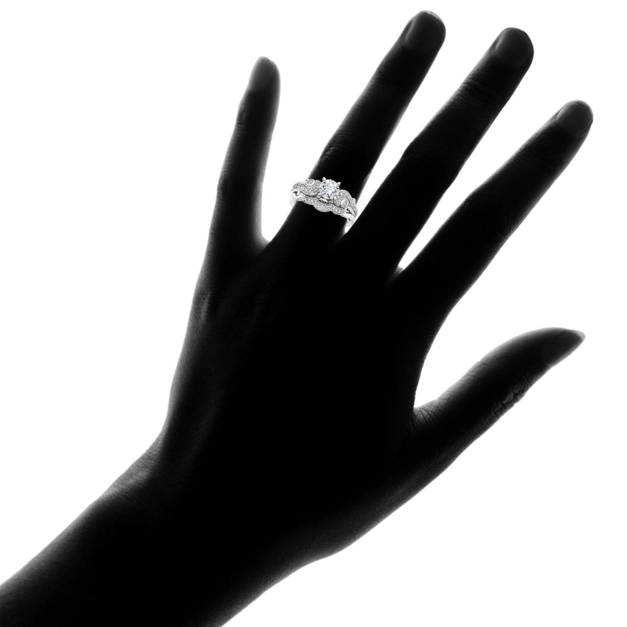 Emery 3 4ct Vintage Diamond Engagement Wedding Ring Set 14k White Gold H I I1