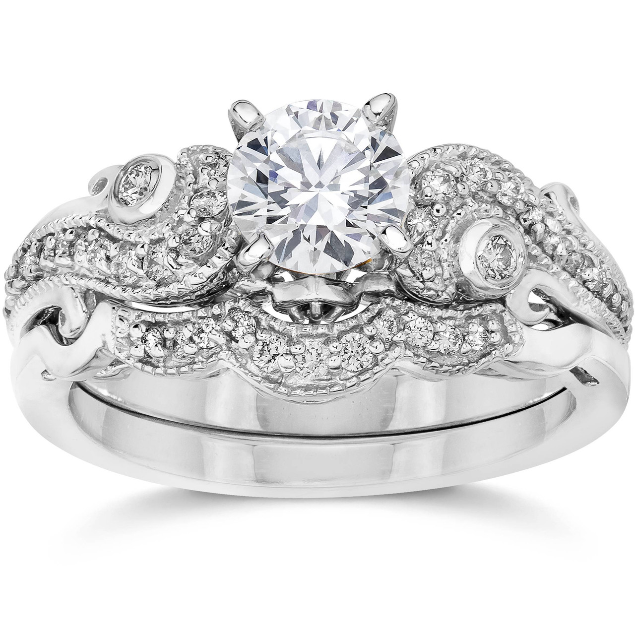 This is a picture of Emery 38/38Ct Vintage Diamond Engagement Wedding Ring Set 3838K White Gold (H/I, I38)