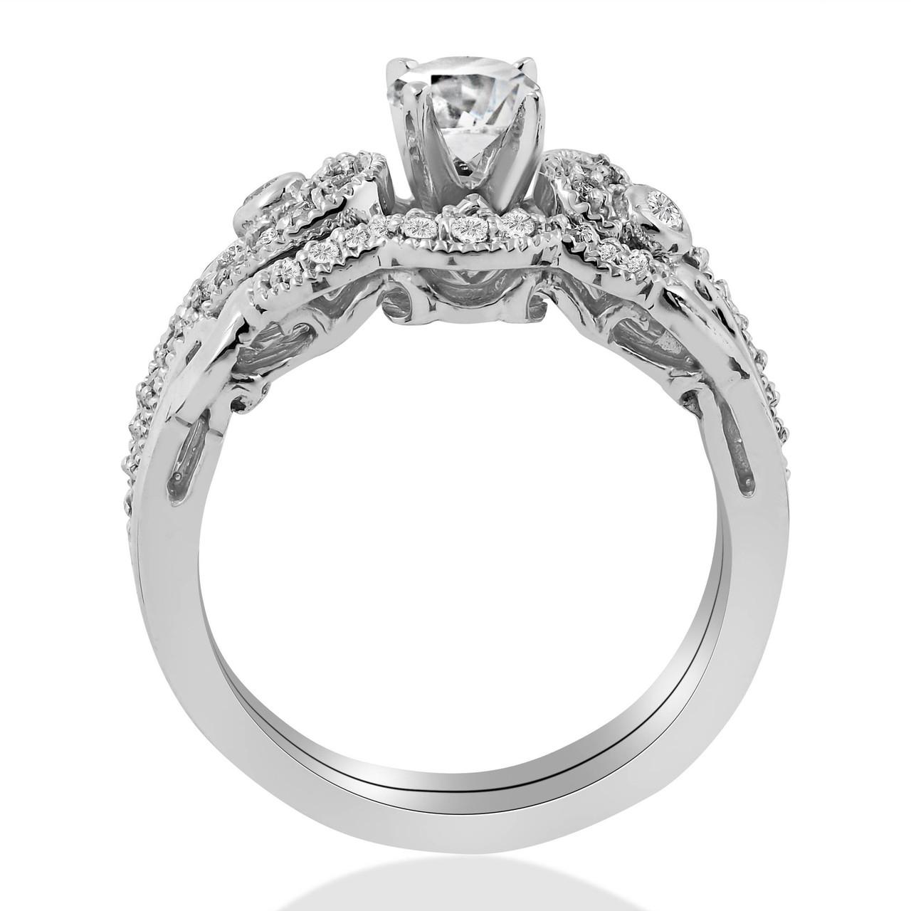 a5d9c612864 Emery 3 4Ct Vintage Diamond Engagement Wedding Ring Set 14K White Gold
