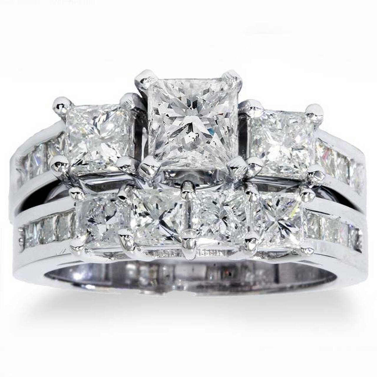 3 1 2ct Princess Cut Diamond Engagement Ring Wedding Set 14k White Gold