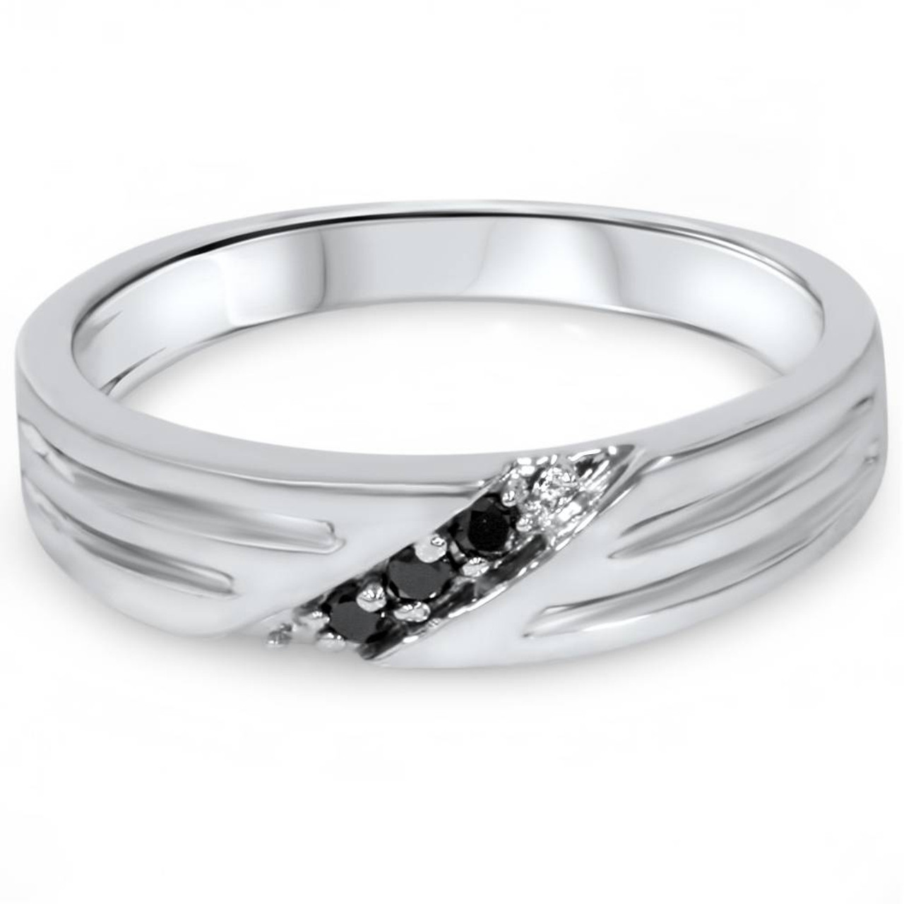 Black Diamond Mens Wedding Band Ring 14k White Gold Aaa Wr1505blk Sd3d71ba2asa5ozcloudfront53000589imageswr1505blk11: Gold Black Diamond Wedding Bands At Reisefeber.org