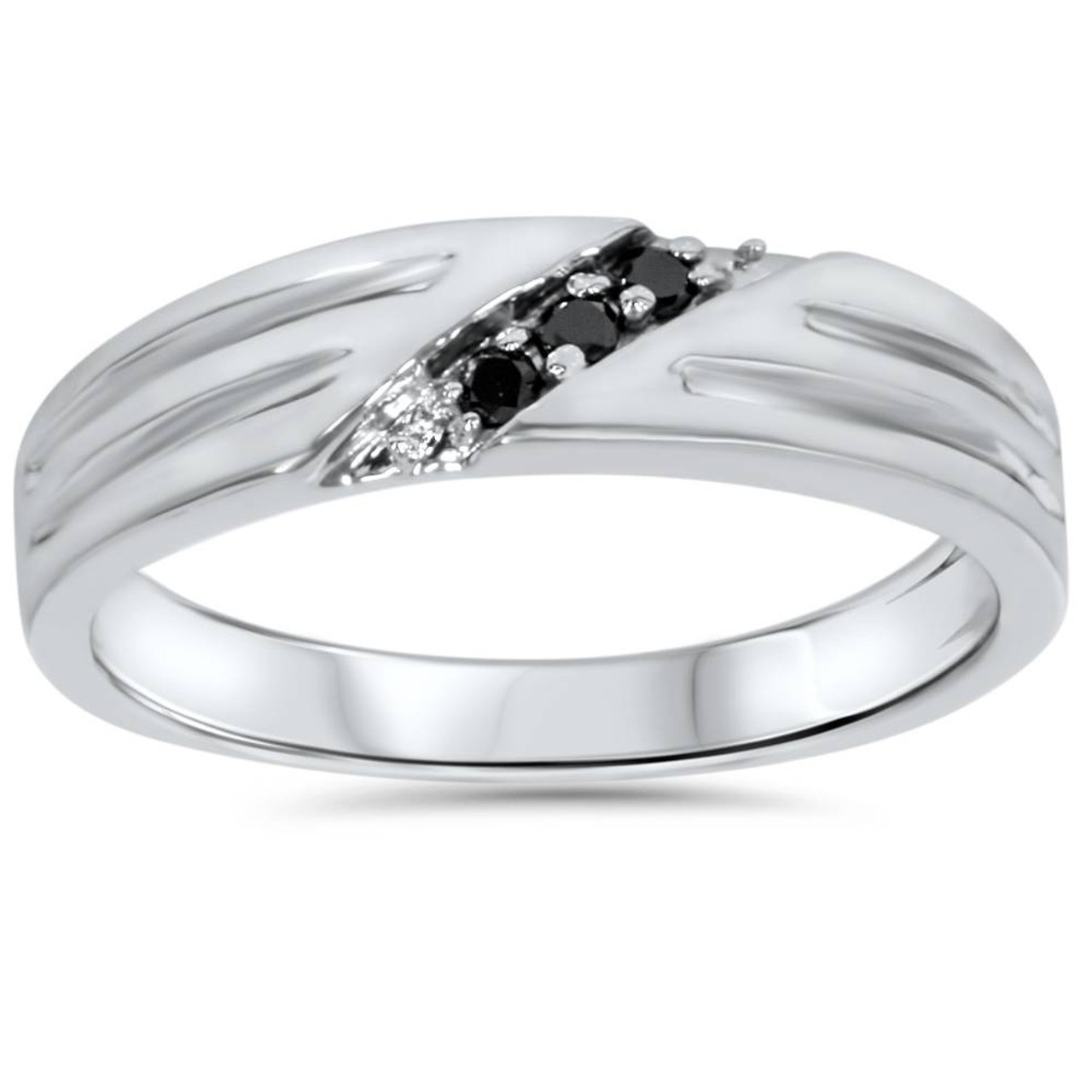 It is a photo of Black Diamond Mens Wedding Band Ring 34k White Gold (Black, AAA)