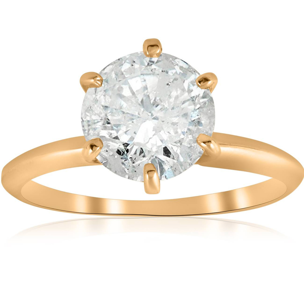 Diamond solitaire 2 Carat Princess Cut Brilliant Solitaire Diamond Ring in Solid 14K Yellow Gold Diamond Engagement Ring 14k Gold Ring