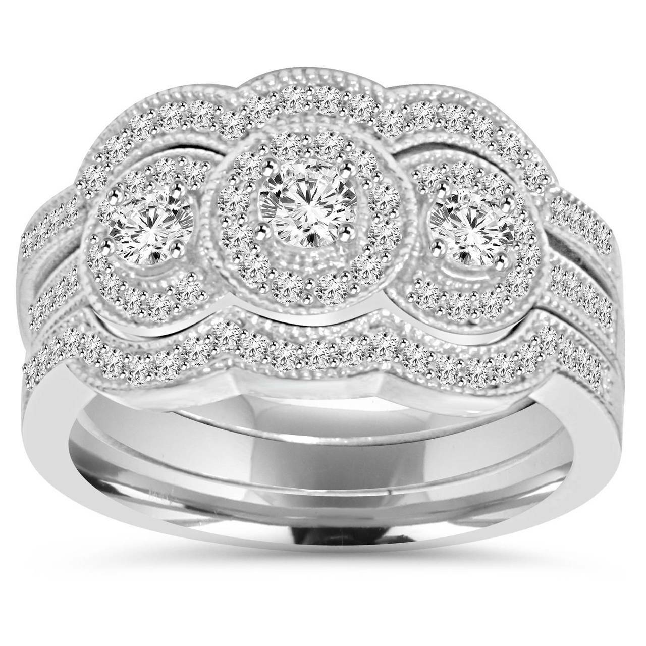 Trio Wedding Ring Sets | 1 25ct Trio Diamond Engagement Wedding Guard Ring Set 10k White Gold