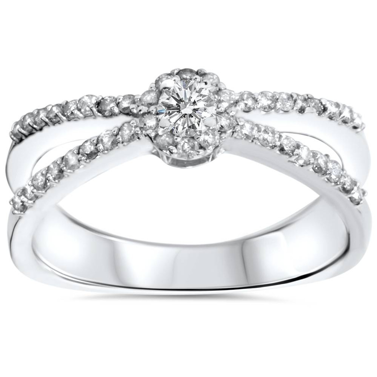30f6acda5dbc2 .40CT Diamond Halo Split Shank Petite Diamond Promise Ring 10K White Gold  (K, I3)