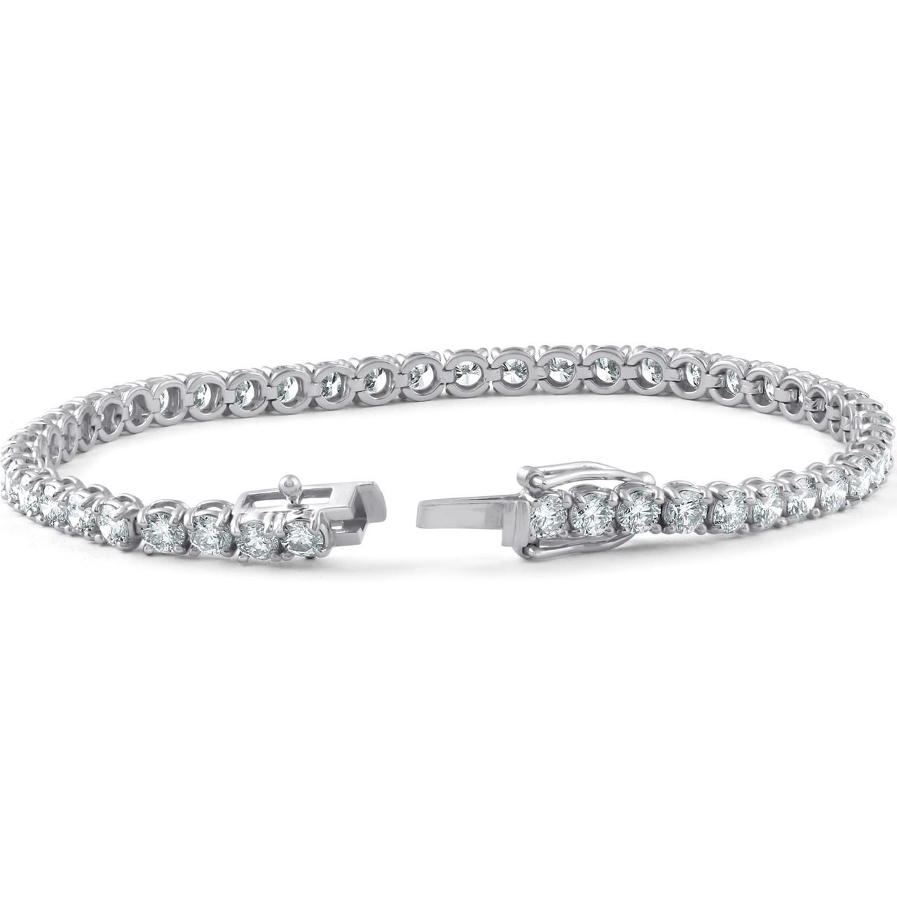 500a0bfda7b7c 7 Carat Round Lab Grown Diamond Tennis Bracelet 18K White Gold 7