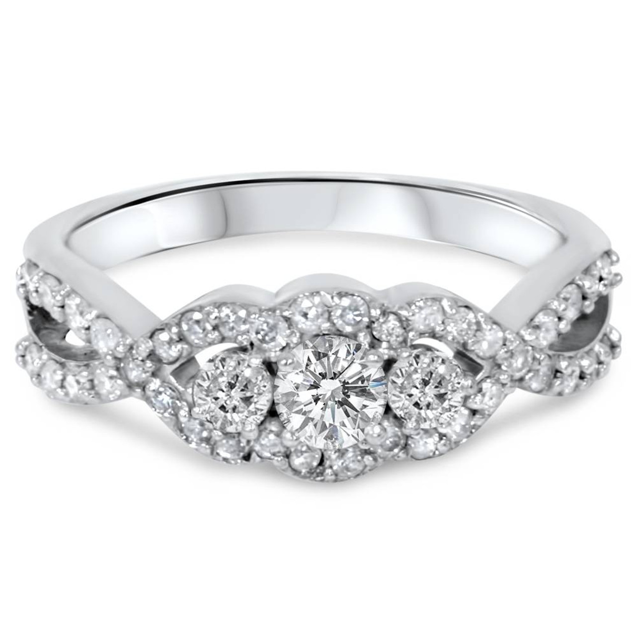 fac72749a017a 3/4ct 3-Stone Diamond Infinity Engagement Ring 10K White Gold