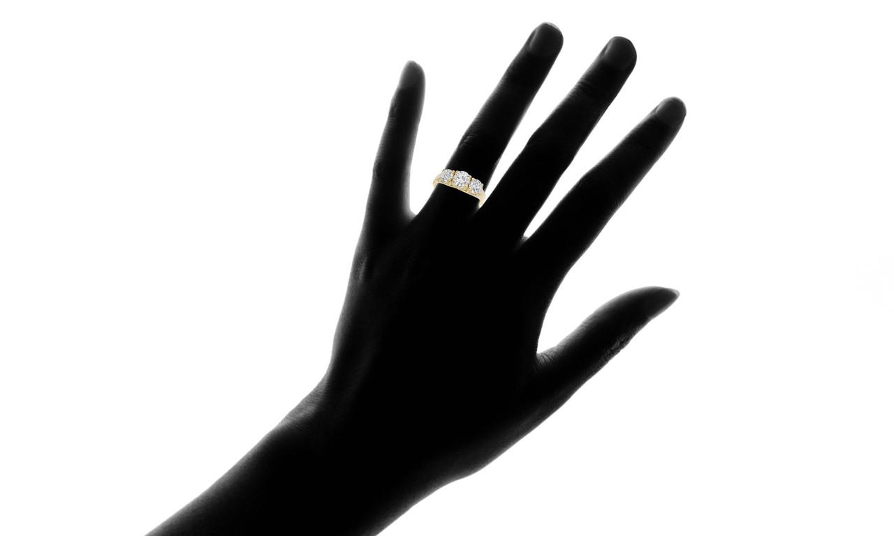 1 3 4ct Three Stone Trellis Diamond Engagement Anniverary Ring 14K Yellow  Gold 7e8caf95033b