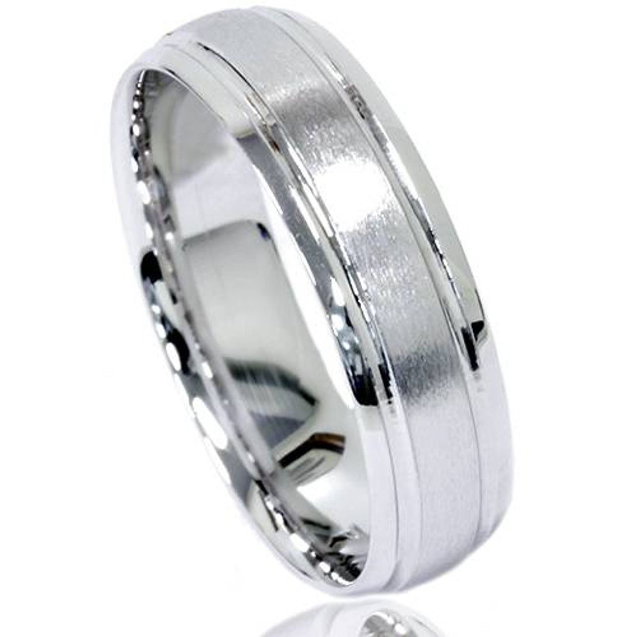 Mens White Gold Comfort Fit 6mm Brushed Wedding Band
