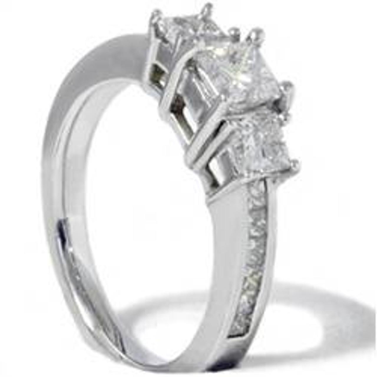 Princess Cut Diamond Engagement Ring 3 Stone 1 1 2ct 14k