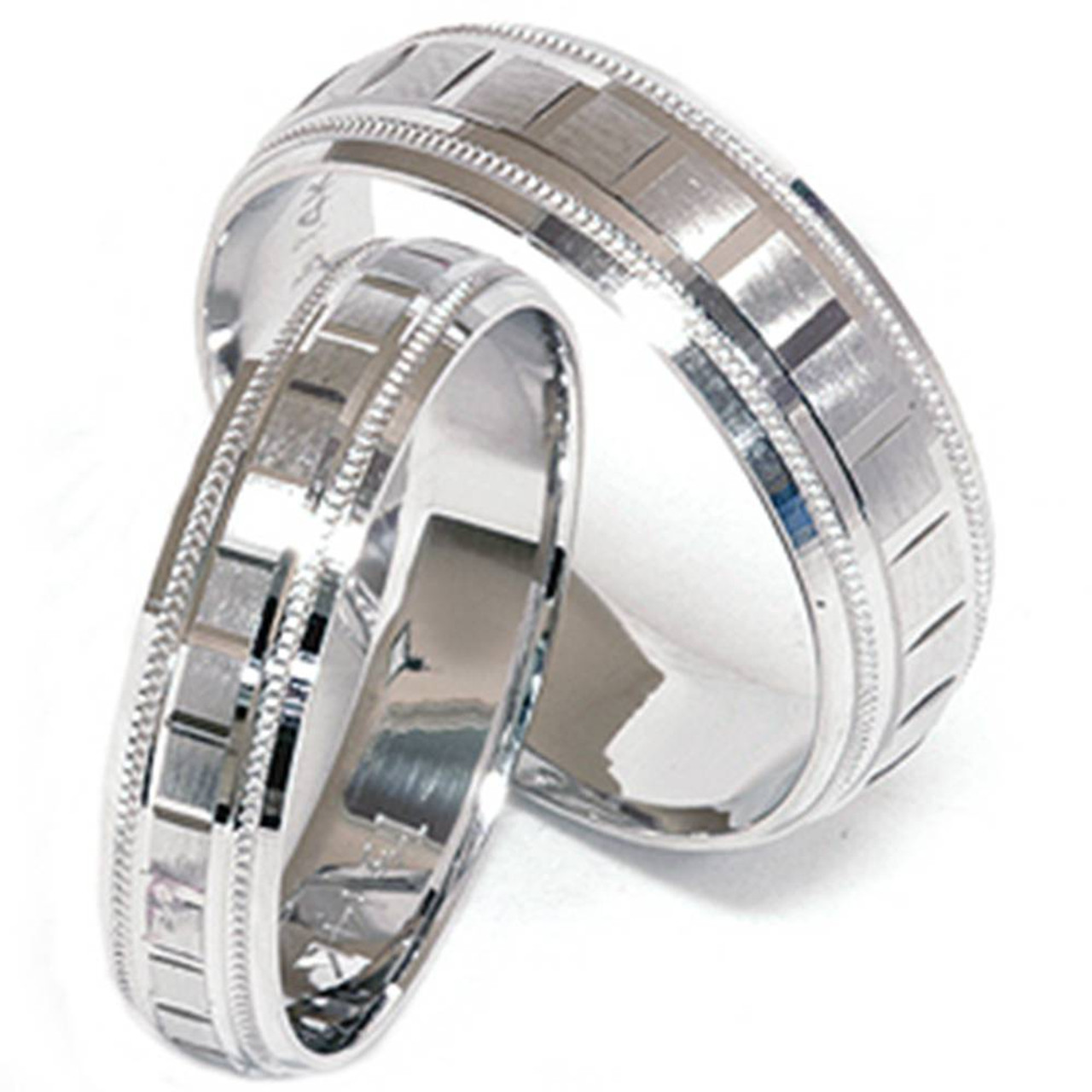 His And Hers Matching Wedding Bands Cheap.Matching His Hers White Gold Wedding Band Ring New Set