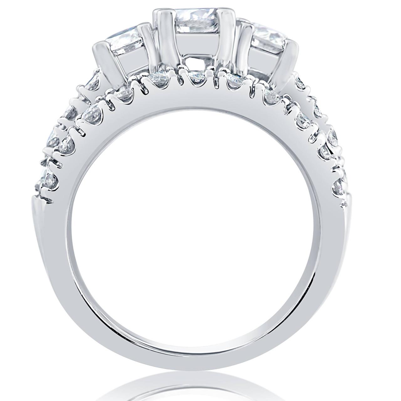 1 1 2 Ct 3 Stone Diamond Engagement Ring Matching Wedding Band Set