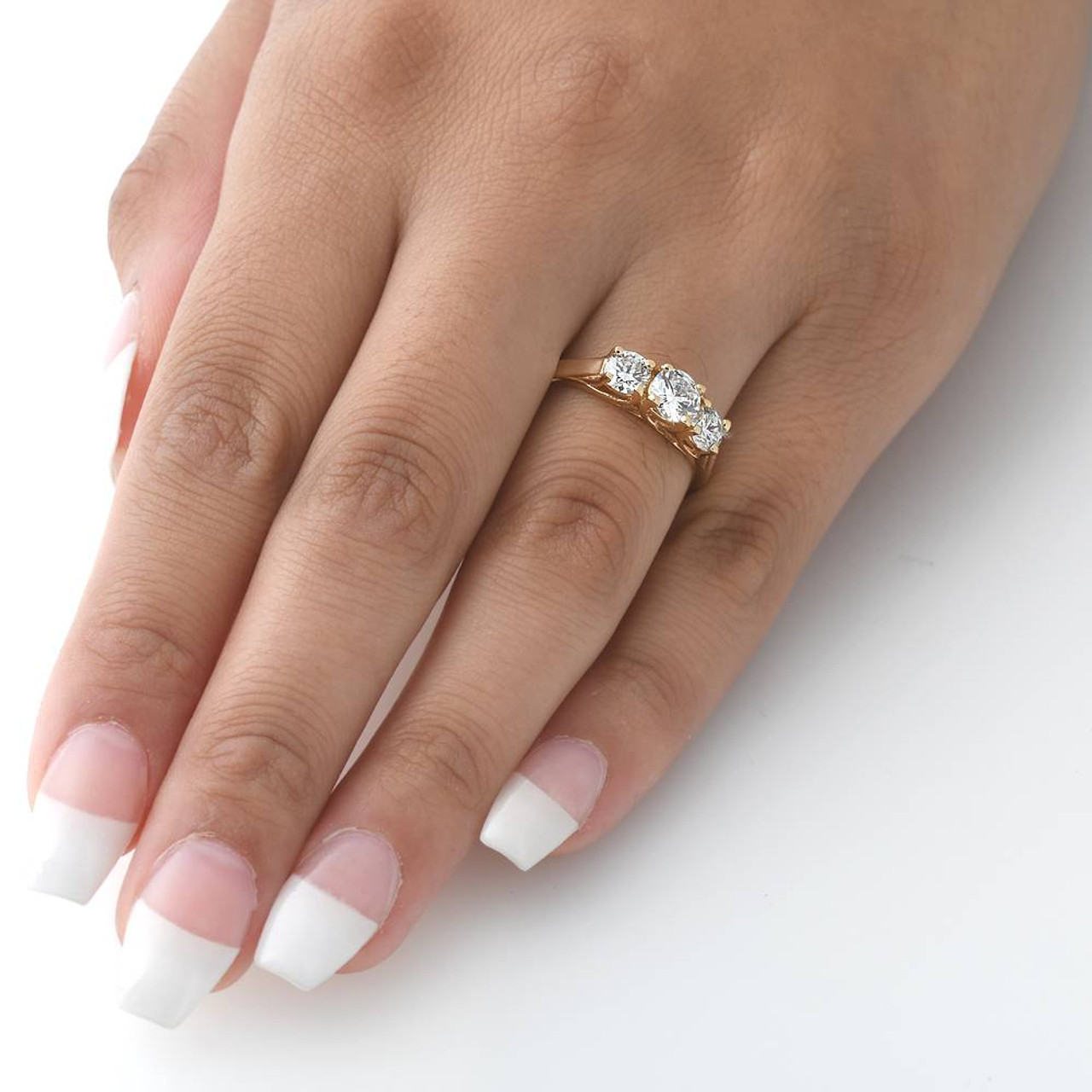 a7f049d524fc 1ct 3-Stone Diamond Engagement Ring 14K Yellow Gold