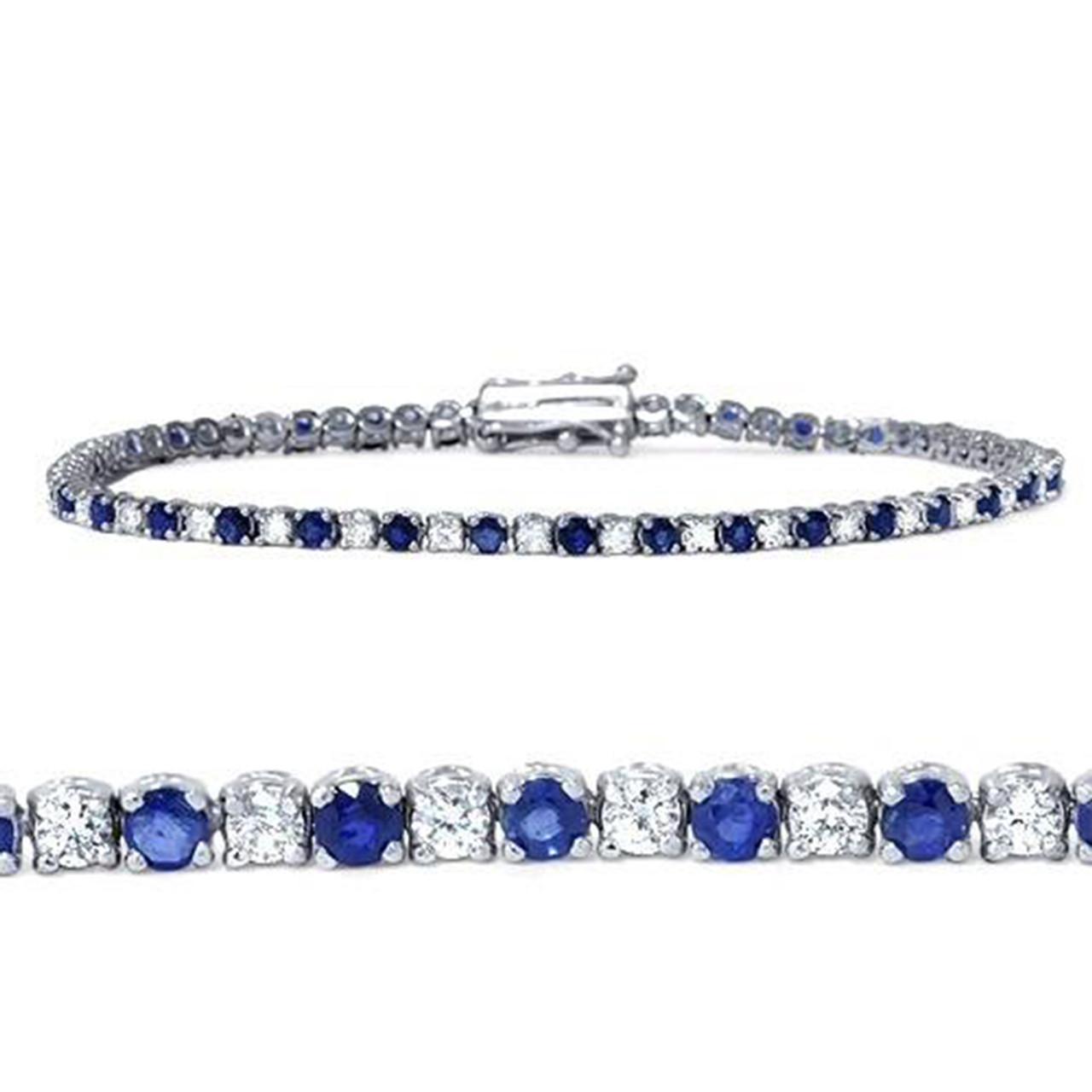 Women 18K Gold Plated Oval Cut Blue Sapphire Tennis Xmas Party Gift Bracelet