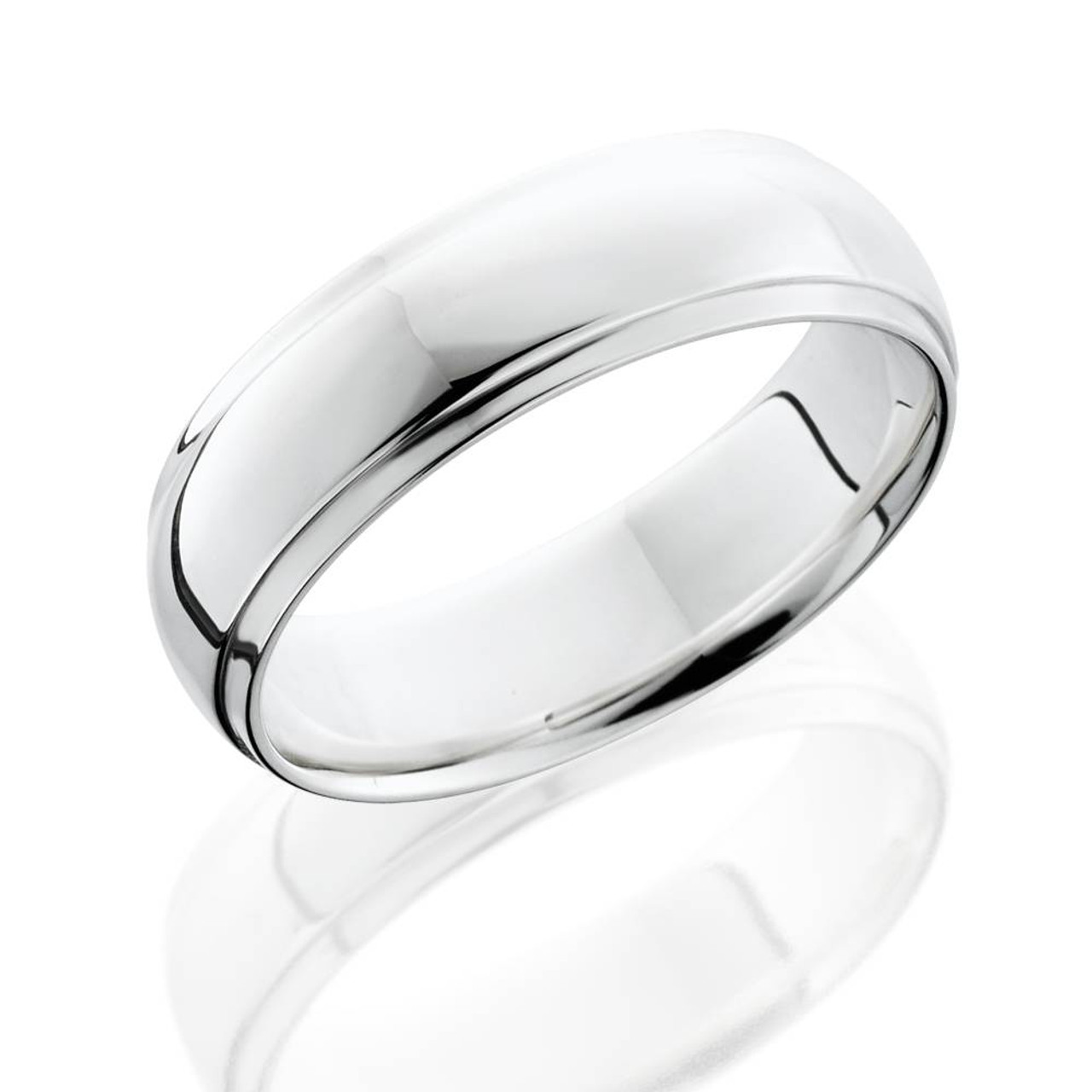 Mens 10K White Gold 5mm Edged Half Round Wedding Band Ring