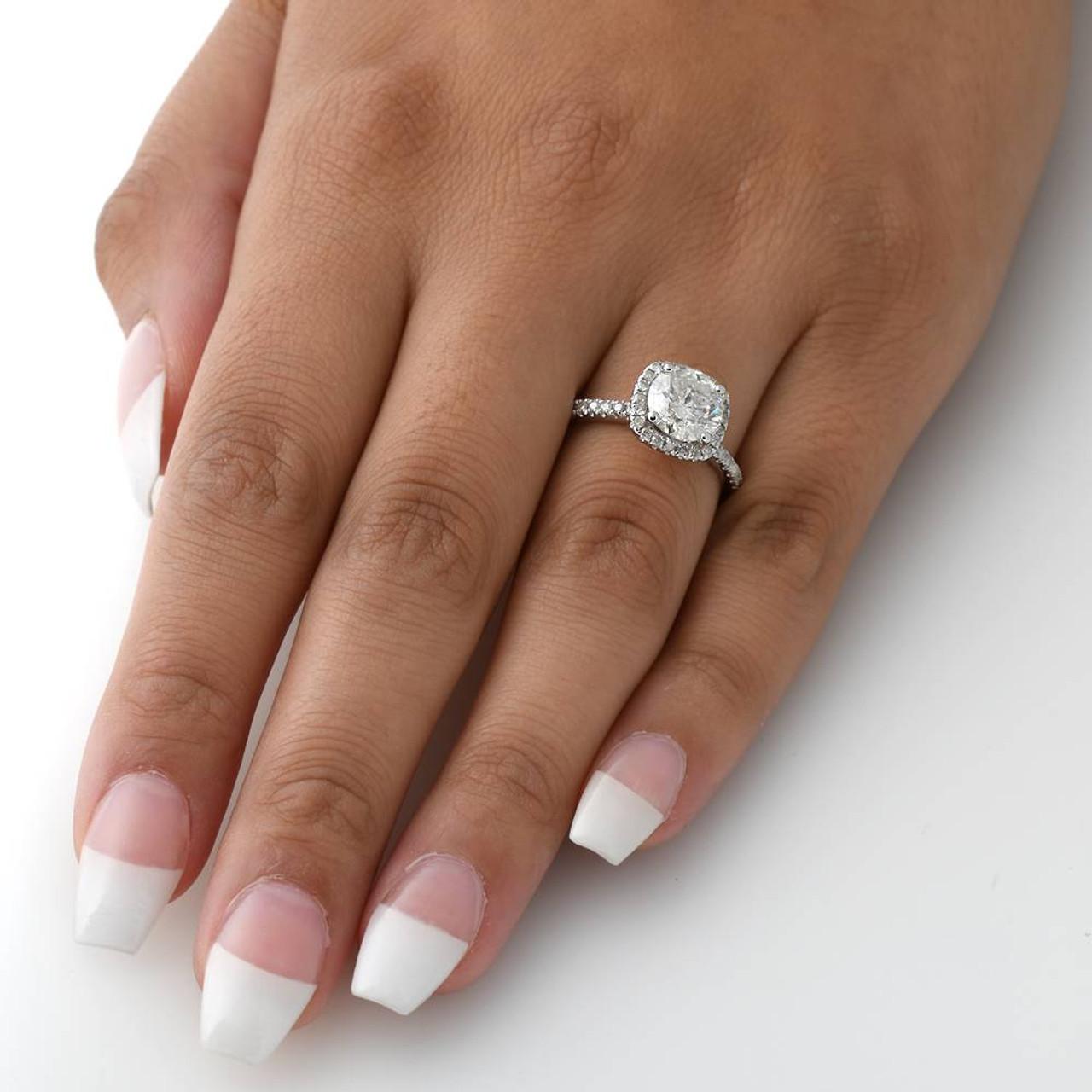 2 Carat Cushion Halo Diamond Engagement Ring 14k White Gold G H Si 1 Si 2