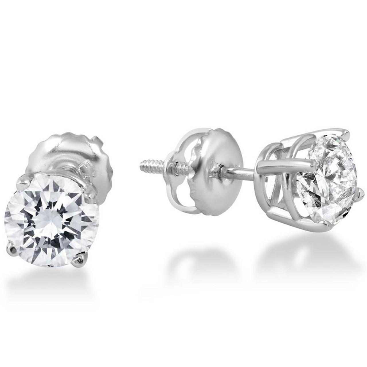 b78358c64decb 1ct Round Diamond Stud Earrings in 14K Whte Gold with Screw Backs (I-J,  I2-3)