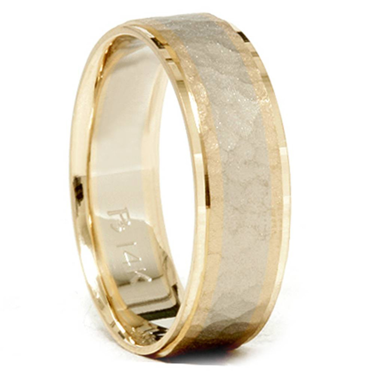 It is just a photo of Mens 40K Gold Two Tone Hammered Comfort Wedding Band