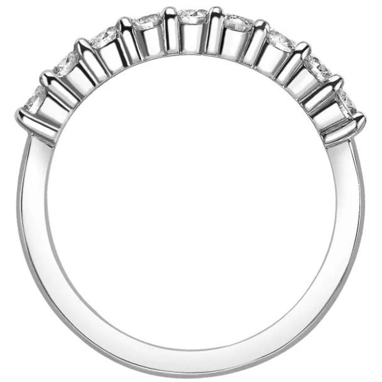 Solid 14K White Gold 1 Ct Half Eternity Wedding Band Excellent Round Cut Diamond