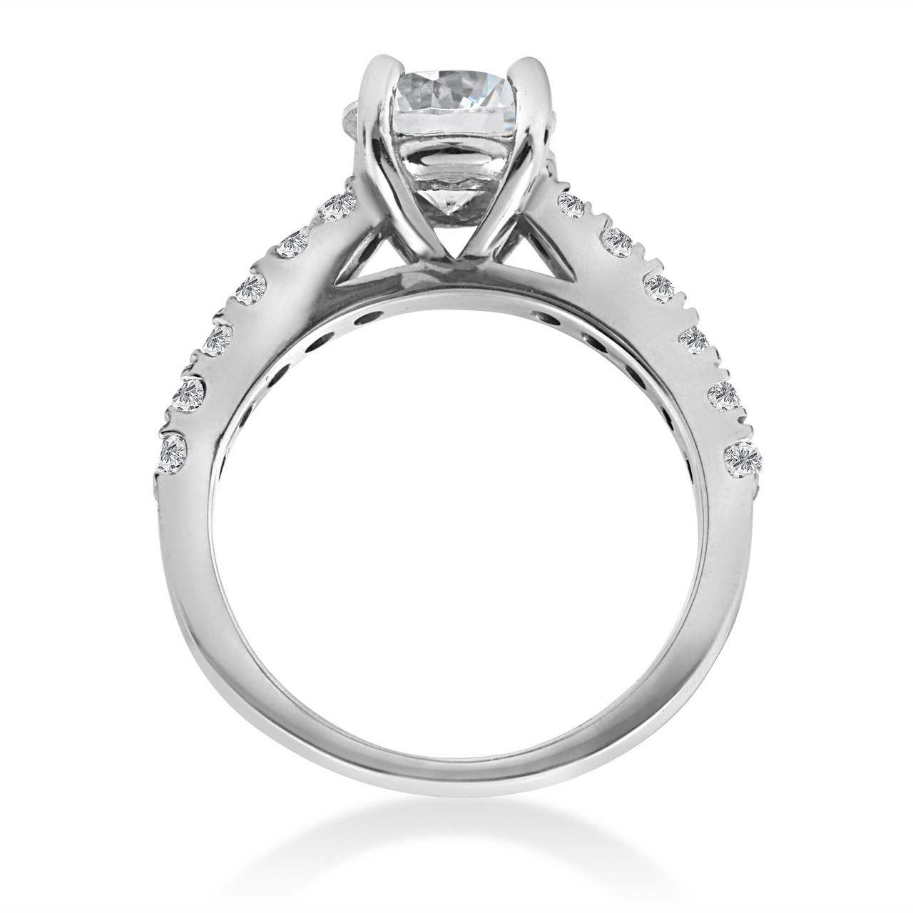 1 1 2 Carat Enement Ring | 1 1 2 Ct Diamond Solitaire With Accents Round Engagement Ring 14k