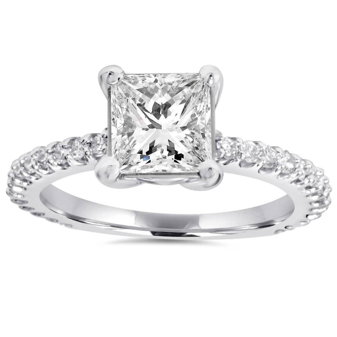 Princess Cut Diamond 1 1 3 Ct Engagement Ring 14k White Gold