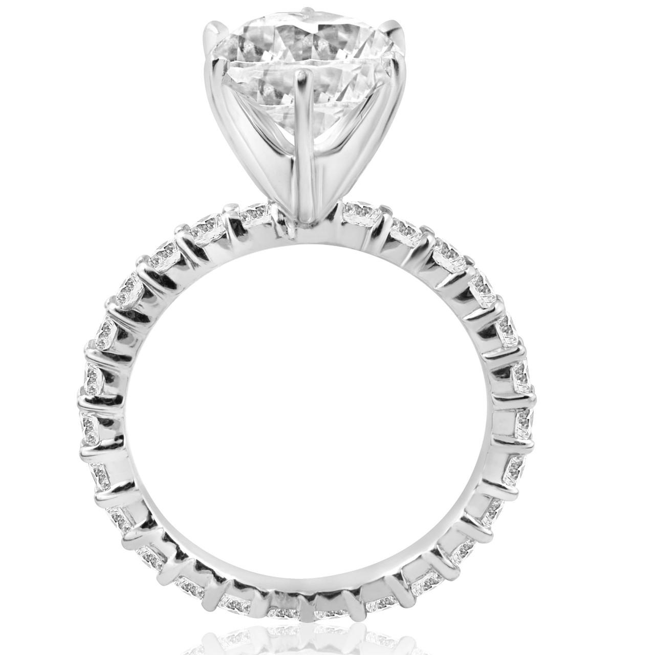 5 carat Enhanced Diamond Engagement Eternity Ring 14K White Gold Round Cut 2598933d74