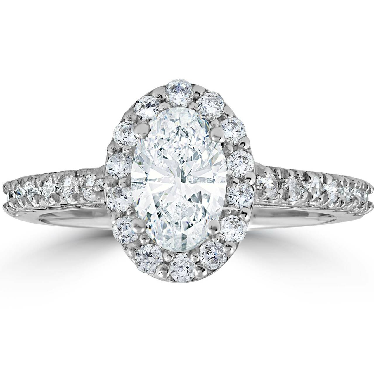1 1 2ct Oval Clarity Enhanced Diamond Halo Engagement Ring 14K White Gold 02e619b3ae