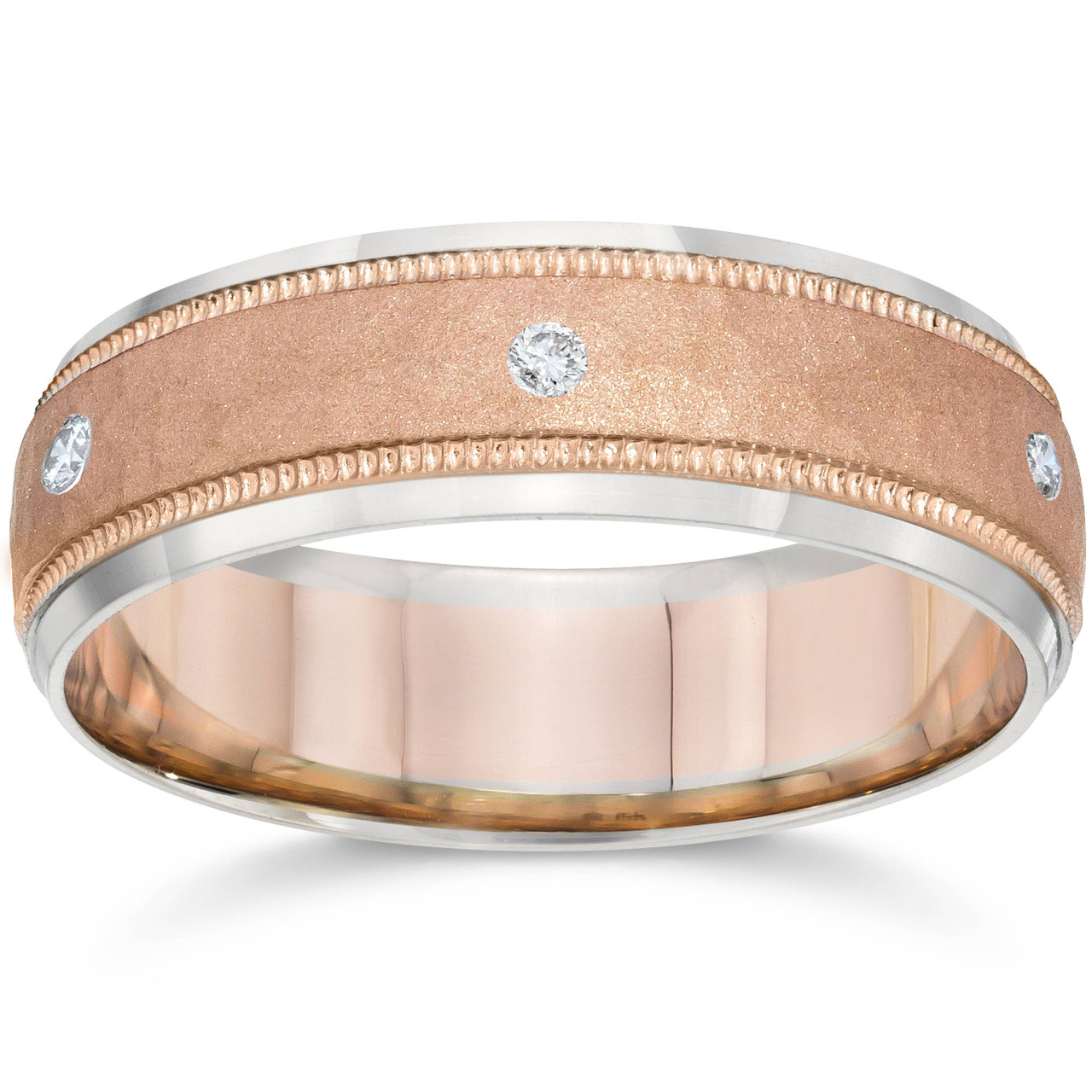 Mens Rose Gold Wedding Band.Mens Diamond 14k Rose White Gold Hammered Two Tone Wedding Band G H Si2