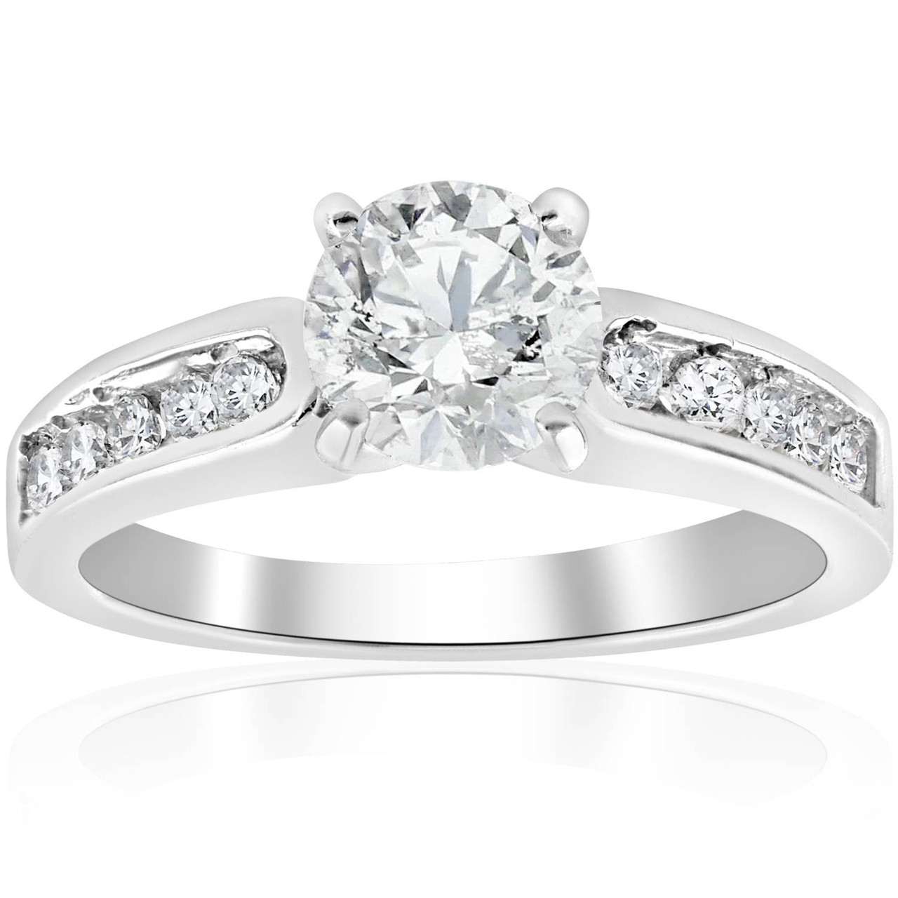 1 Ct Diamond Engagement Ring 14k White Gold Channel Set