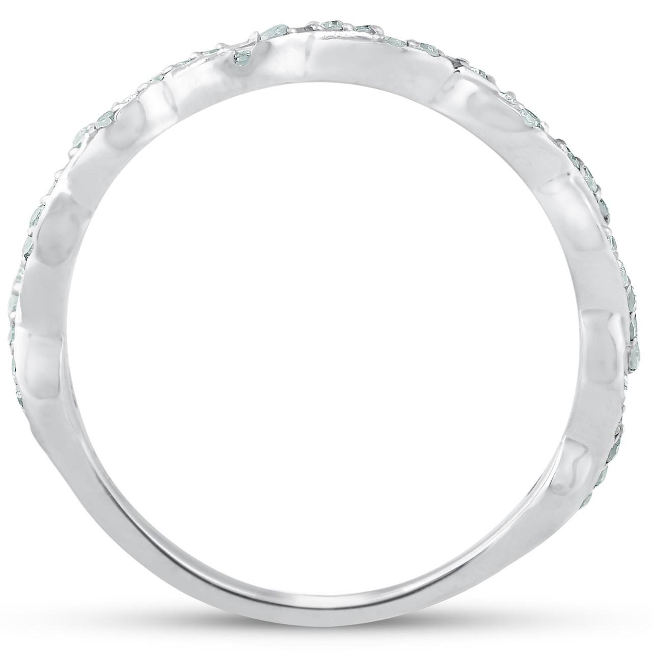 8283c7c73995c 1/8ct Diamond Infinity Wedding Ring Womens Stackable Wedding Band 14k White  Gold (H-I, I1-I2)
