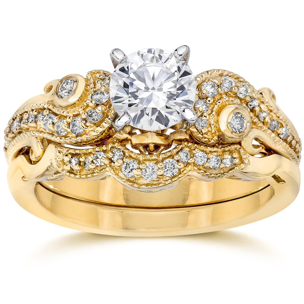 Emery 3/4Ct Vintage Diamond Engagement Wedding Ring Set 14K Yellow