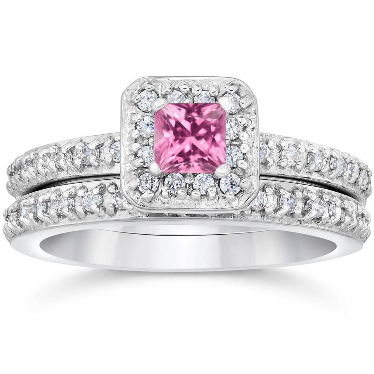 Princess Cut Pink Sapphire 1 1/3ct Pave Vintage Diamond Ring Set 14K White  Gold (G/H, I1)