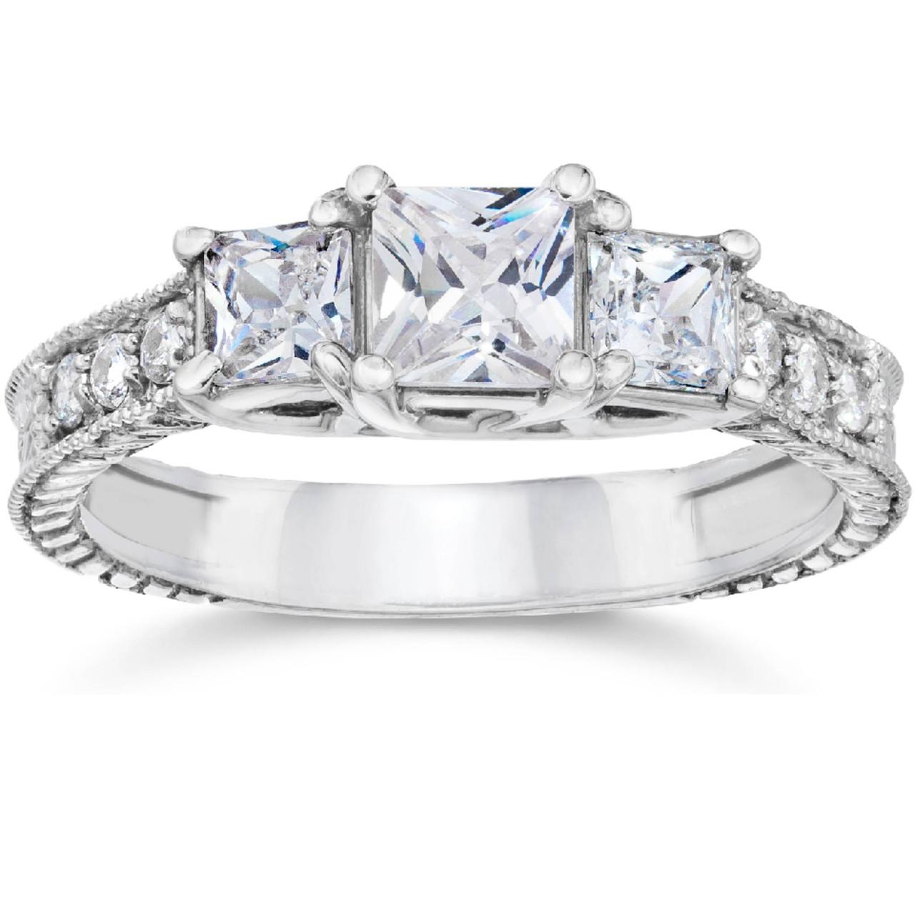 a7f1b5d97fa60 1 3/4ct Vintage Three Stone Princess Cut Diamond Engagement Ring 14K White  Gold (H, SI2)