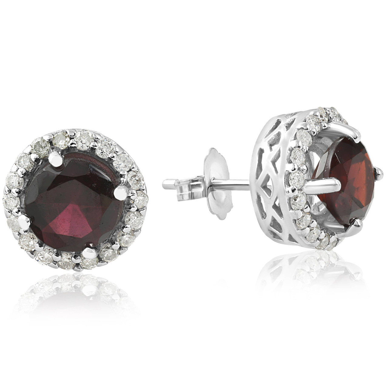 c88e5726f67e9a 2 1 10ct Diamond   Red Sapphire Gemstone Vintage Halo Earrings 14K White  Gold