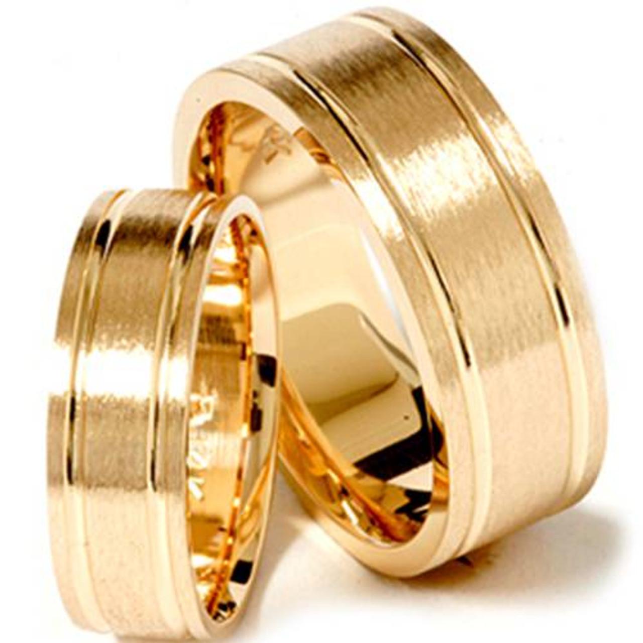 Matching His Hers 14k Yellow Gold Wedding Ring Band Set
