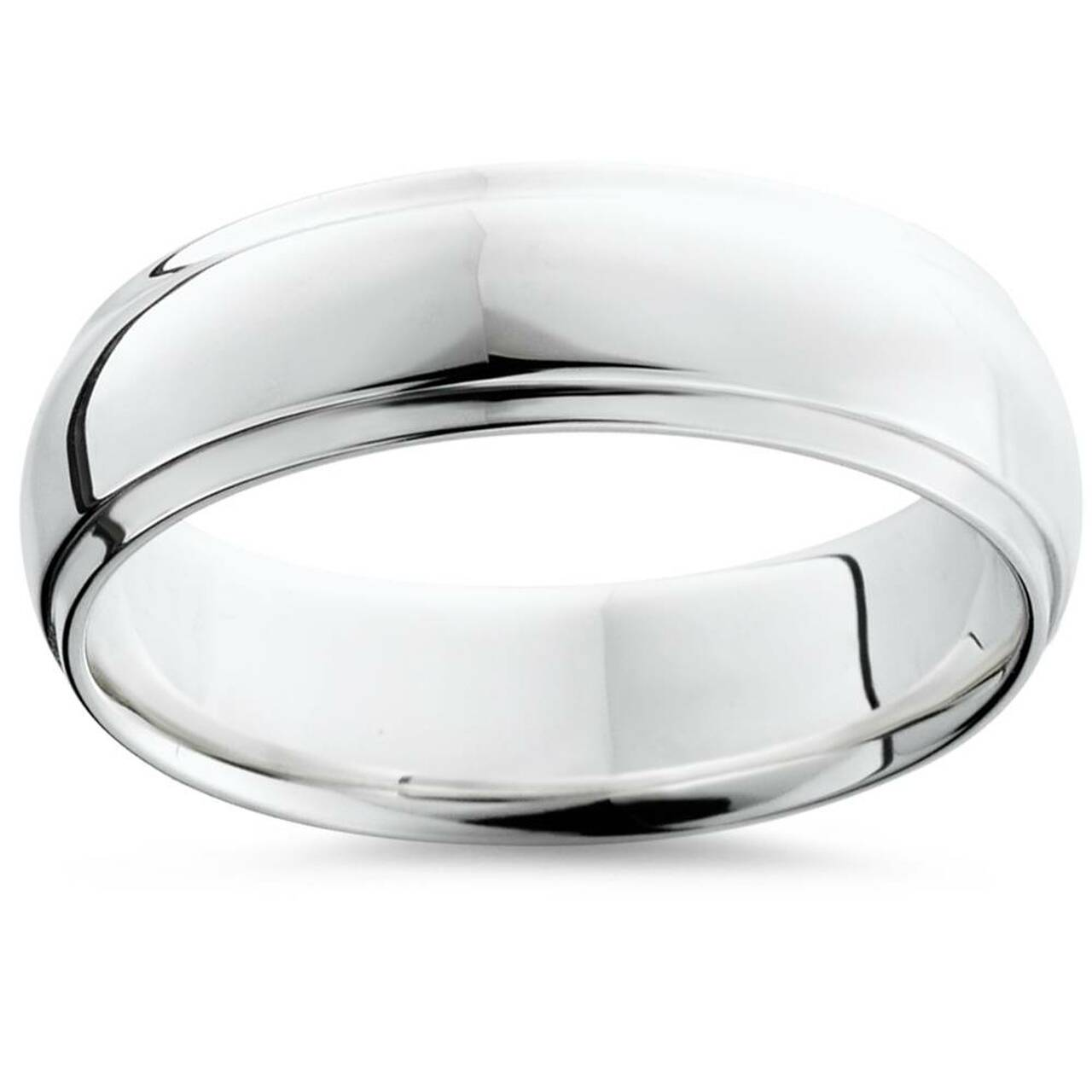 It is a picture of Mens Argentium Silver Comfort Fit Wedding Band