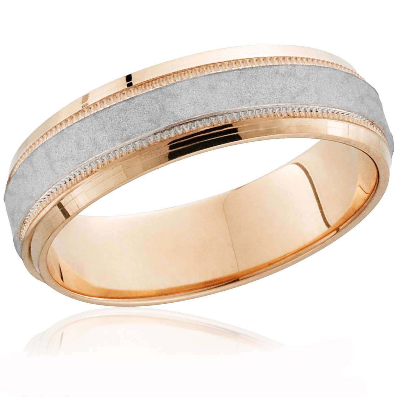 14k Rose Gold Platinum Two Tone Hammered Mens Wedding Band