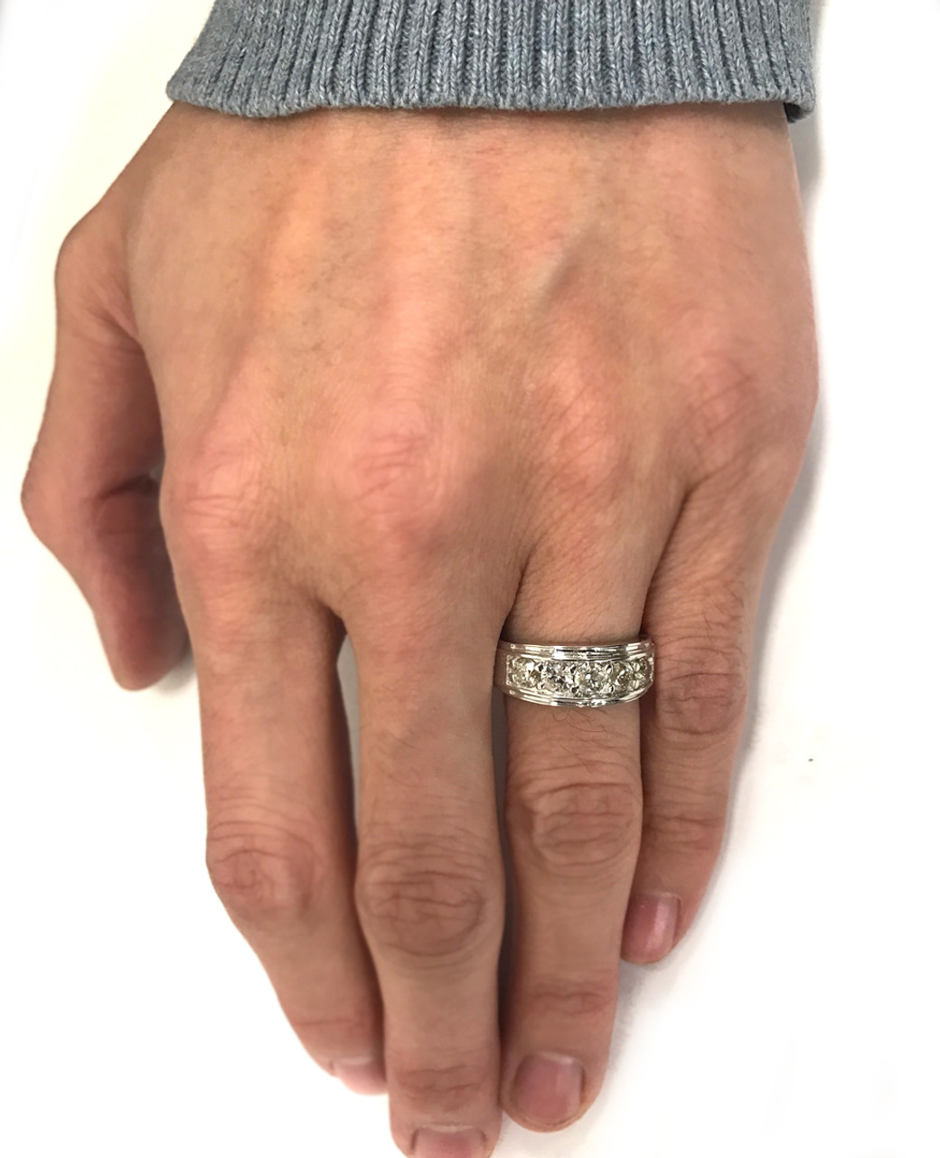 12c6909027ffde 1 ct Mens Diamond Five Stone Wedding Ring 10k White Gold (G/H, I1). MR0278.  2 Reviews  http://partnerconnect.pompeii3.com/appfiles/itemimages/58ca96bb762d0.