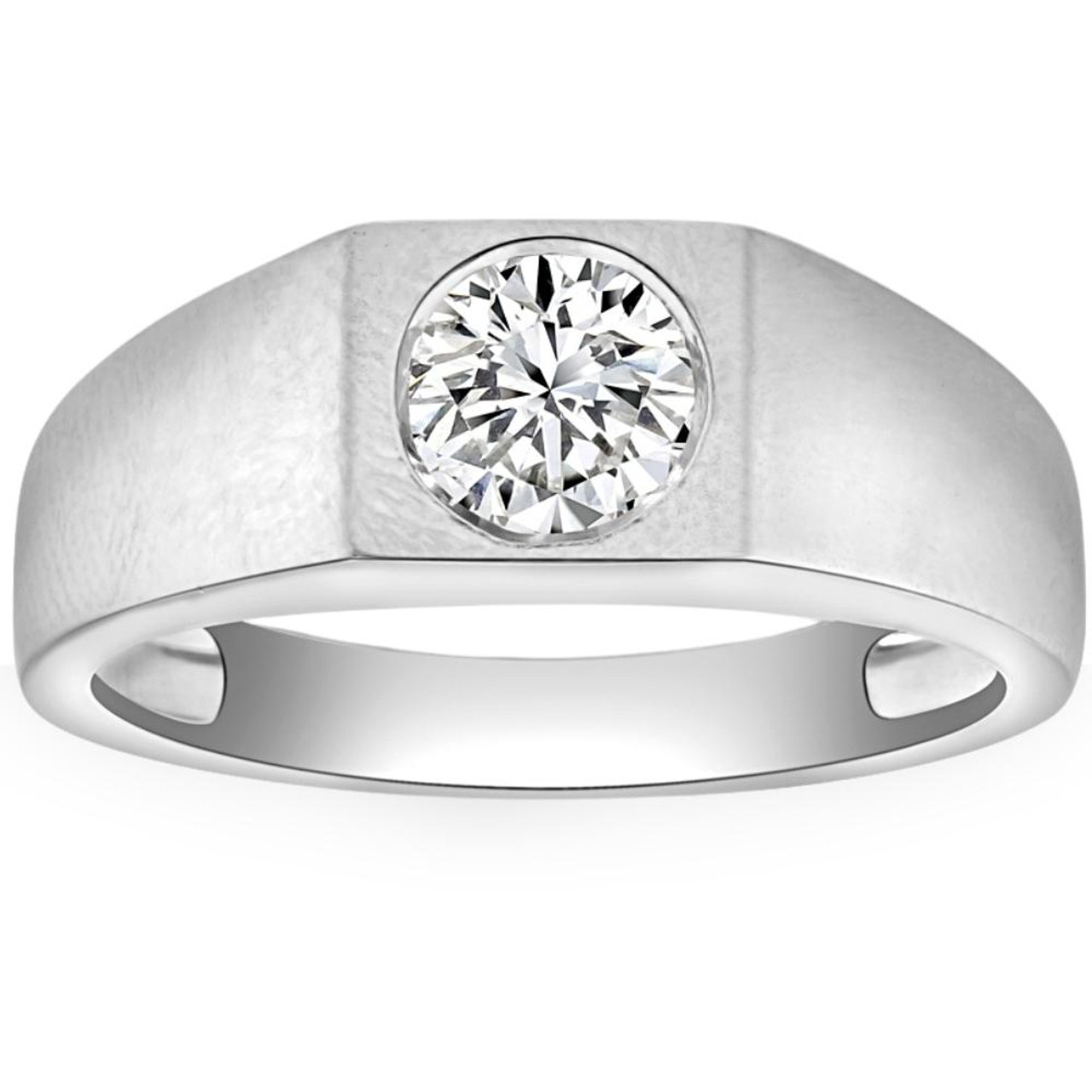 1 Ct Solitaire Diamond Mens Wedding Ring 14k White Or Yellow Gold