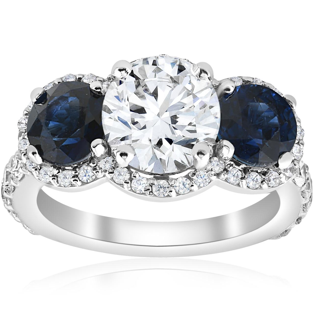 3.45 Round Cut 3-Stone Engagement Wedding Bridal Anniversary Ring 14k White Gold