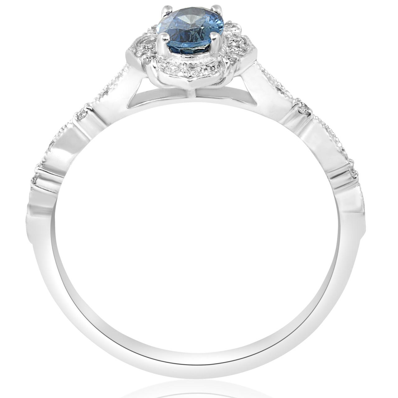 3 4ct Oval Blue Sapphire Diamond Halo Vintage Engagement Ring 14k