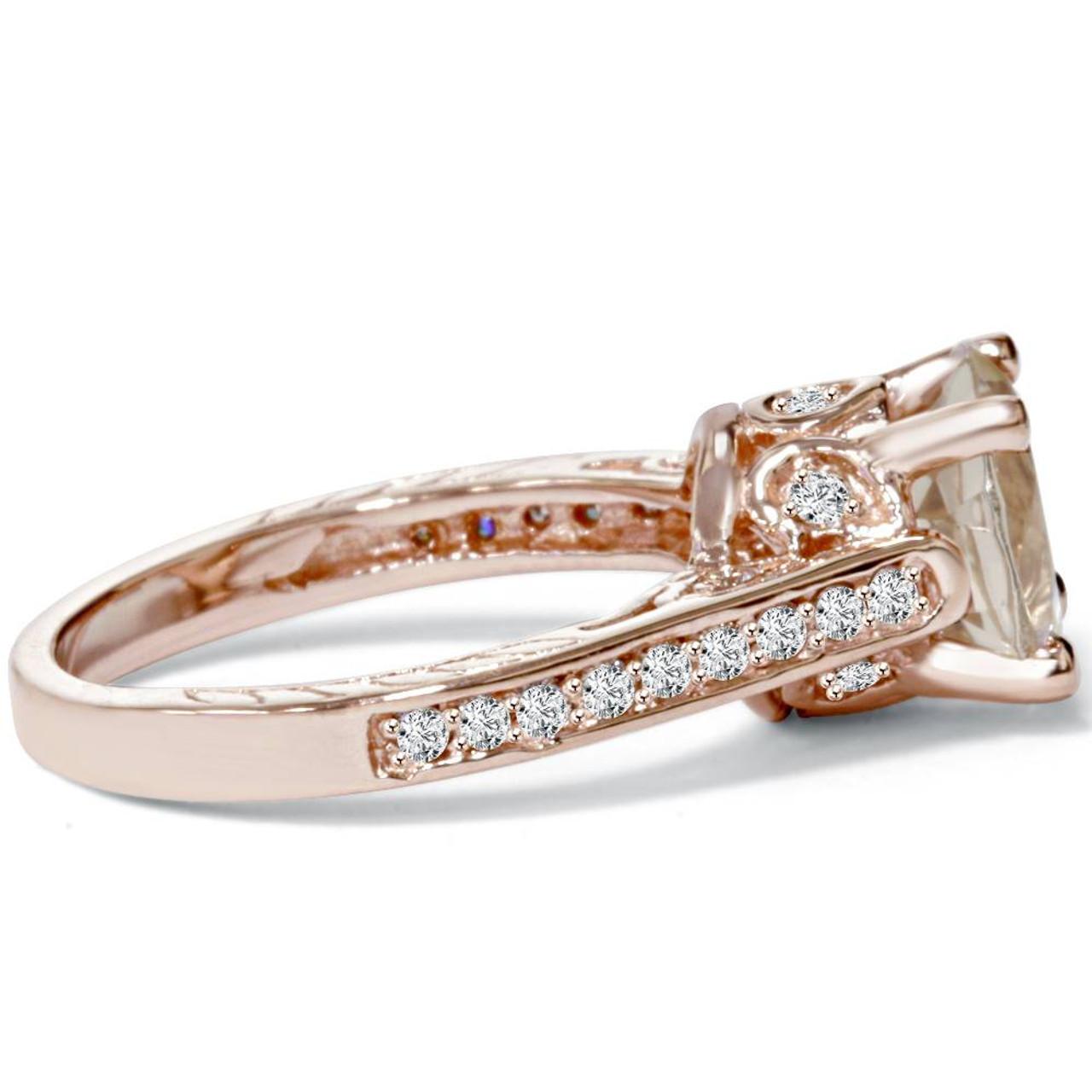 2 Carat Morganite Diamond Vintage Engagement Ring 14k Rose Gold