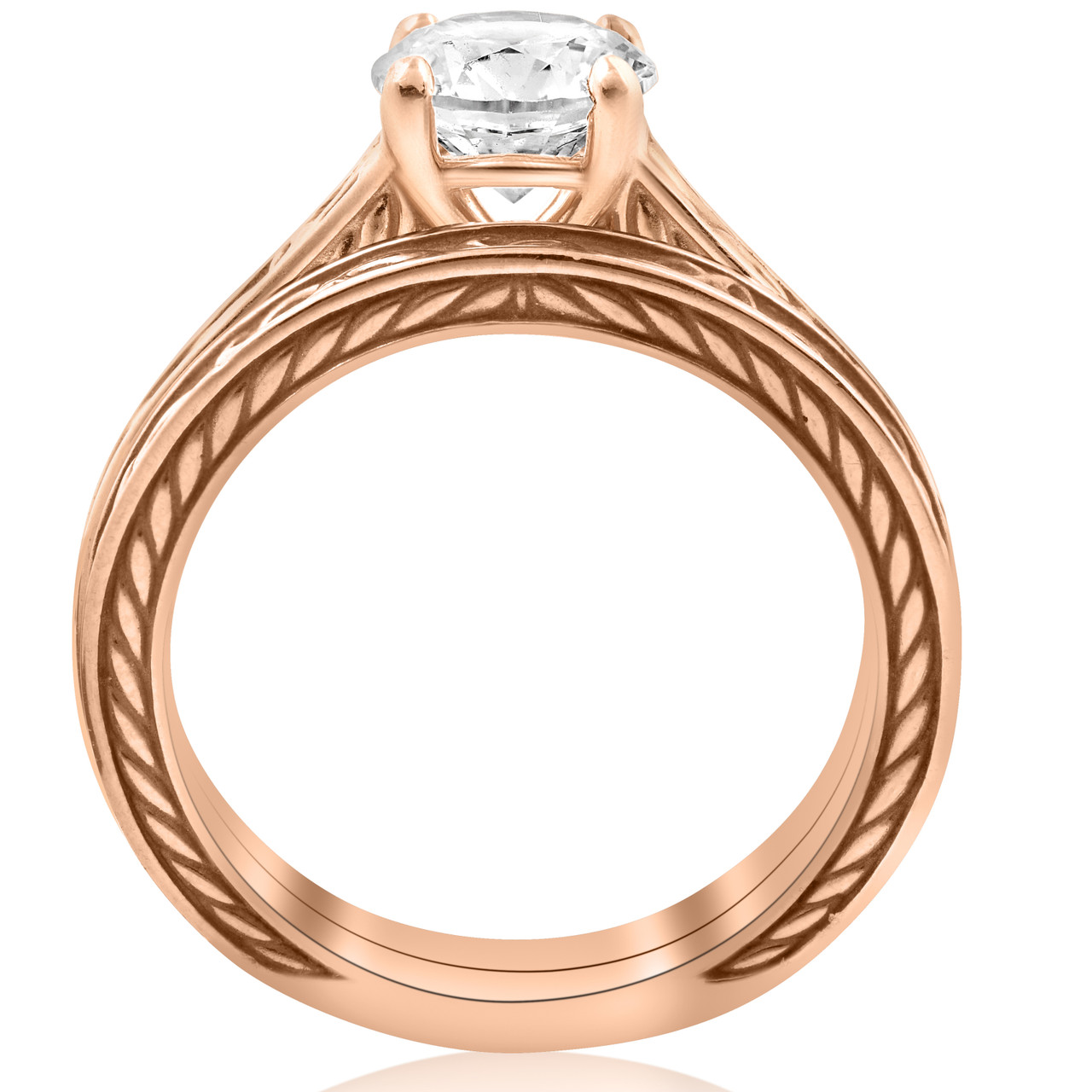1ct Diamond Solitaire 14k Rose Gold Vintage Engagement Ring Wedding Band  ((G,H), SI(1),SI(2))