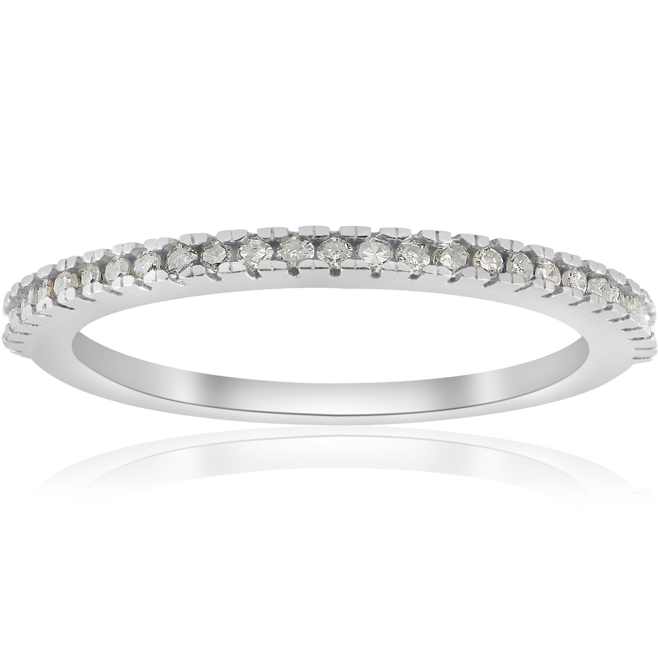 79d5467b24e3 1 10ct Pave Diamond Wedding Ring 10k White Gold Stackable Womens Thin Band