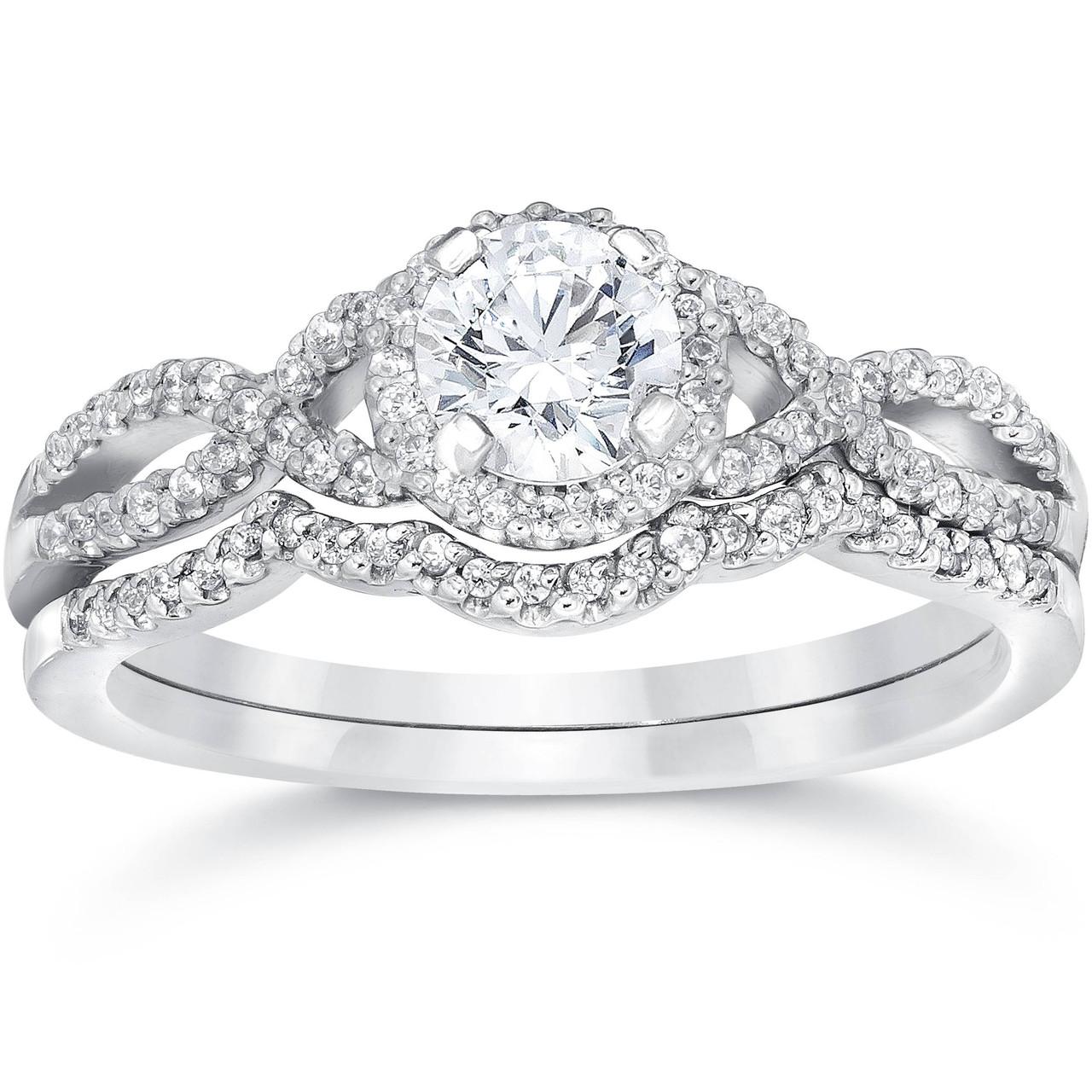 Wedding Rings Sets.3 4ct Diamond Infinity Engagement Wedding Ring Set 14k White Gold G H I1 I2