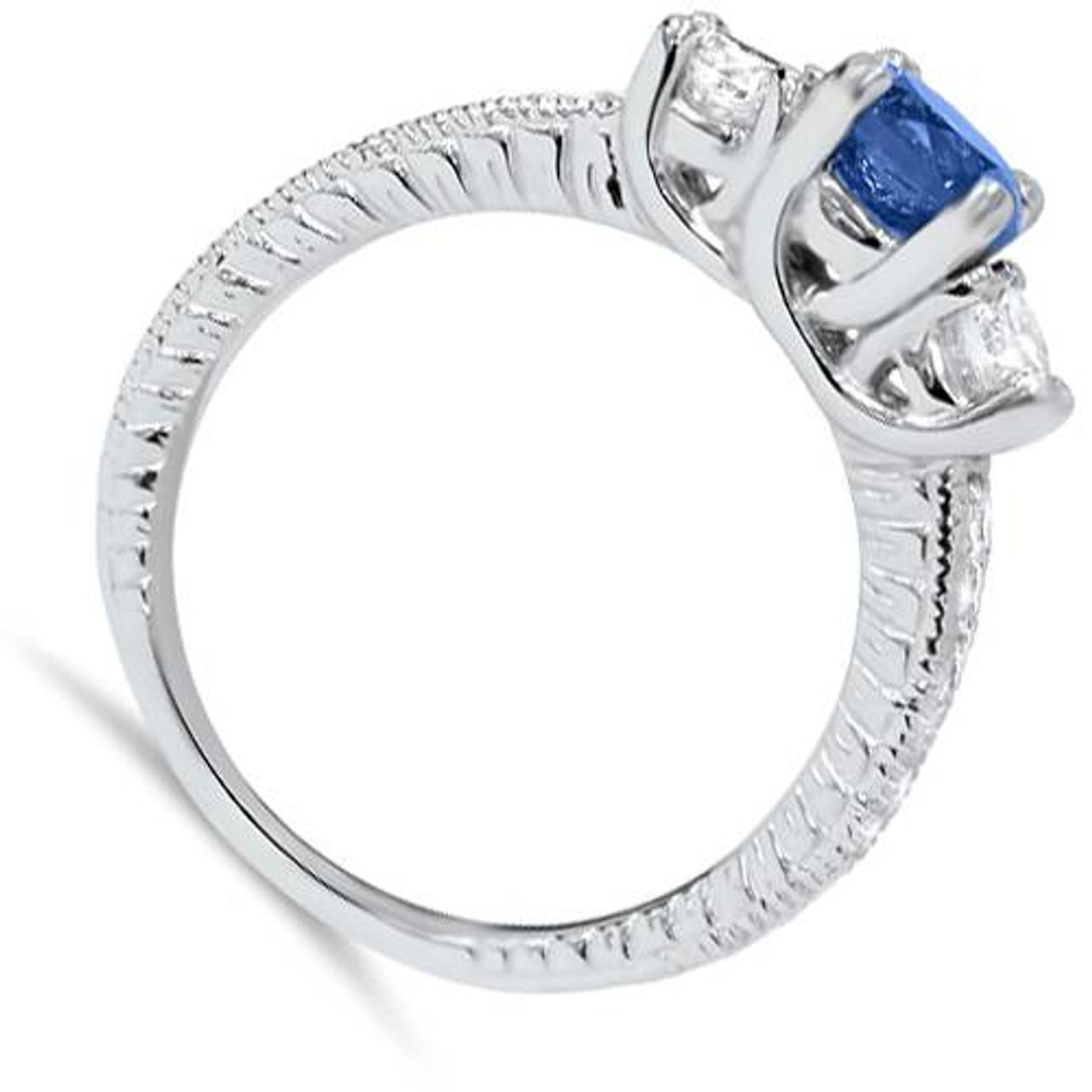 ef795bcbbf2d 1ct Vintage Blue Diamond 3-Stone Engagement Ring 14K White Gold
