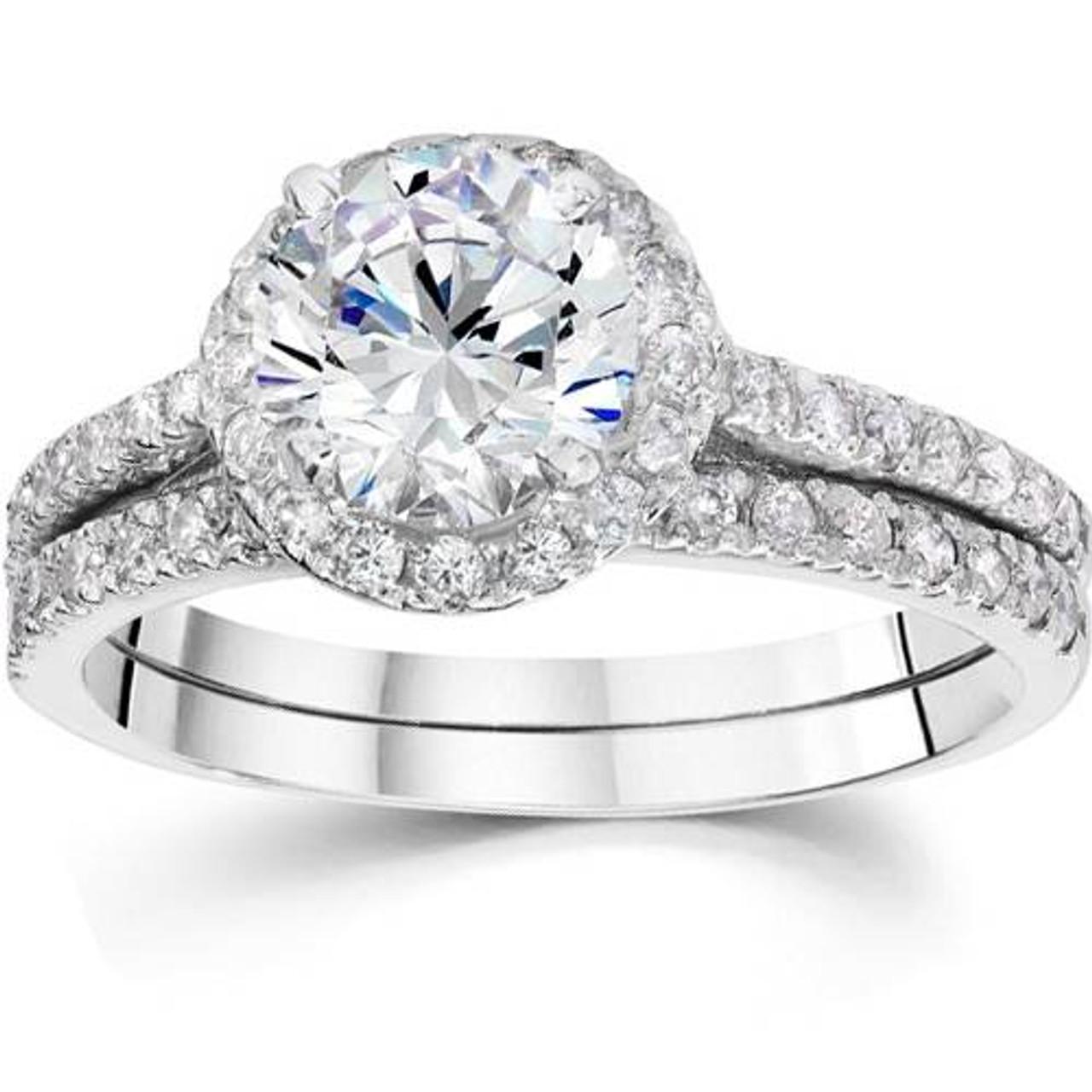 2 1 2 Carat Halo Round Enhanced Diamond Engagement Ring Matching Wedding Band Set
